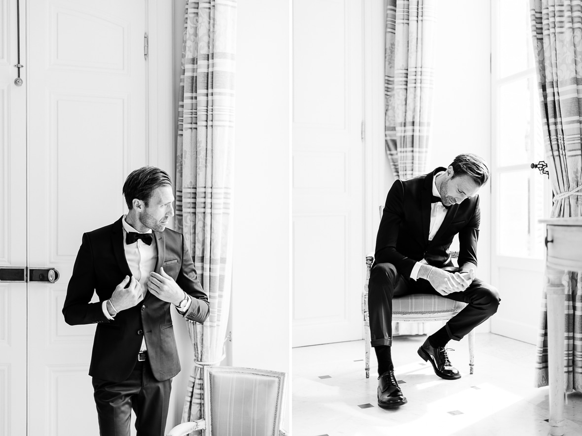 photo noir et blanc marié